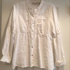 Long Sleeve Linen Boho Shirt. Size XL One of my favorite shirts but no longer fits. Extremely cool and soft. 100% Linen Tweeds Tops Blouses