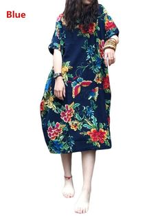 Wish | Oversized Women Short Sleeve Batwing Vintage Floral Print Baggy Loose Maxi Dress