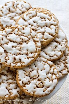 Old-Fashioned Iced Oatmeal Cookies - Saving Room for Dessert - I am veganizing these: sub 1/2 vegan marg and coconut oil for butter; use egg replacer; sub soy or almond milk for milk xo Pami