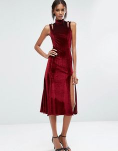 Discover Fashion Online  http://www.asos.com/asos-tall/asos-tall-velvet-midi-dress-with-splices-and-cut-out-shoulder-detail/prd/7227866?iid=7227866&clr=Wine&SearchQuery=&cid=5235&pgesize=36&pge=0&totalstyles=915&gridsize=3&gridrow=8&gridcolumn=1
