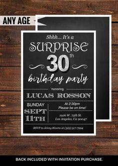 Surprise 30th birthday invitations for him Mens 30th Birthday