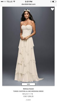 3145725c5 Long A-Line Beach Wedding Dress - Melissa Sweet - affordable beach wedding  dress - strapless breezy weightless chiffon gown