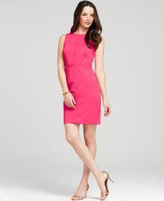 Polished Cotton Seamed Zip Sheath Dress