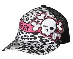 Our Leopard trucker hat has flocked leopard print and embroidered graphic. #hats #truckerhats #kidsfashion #kidshats