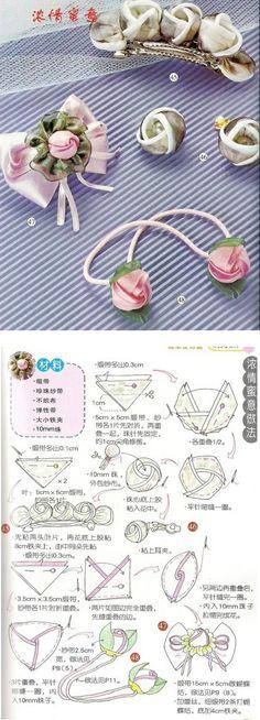 Tutorial for cute ribbon Rosebuds. Ideas for hair accessory, ear-rings or brooch.
