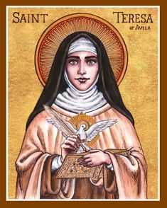 St. Teresa of Avila icon by Theophilia on deviantART ~ watercolor, ink & gold leaf