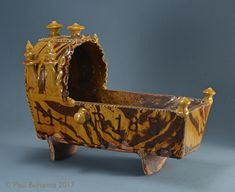 """Agateware earthenware cradle with slip inscription """"M J + R Attributed to Woodman House Pottery, Halifax, England. Slipware pottery, for sale - Paul Bohanna Antiques Earthenware, Stoneware, Art Nouveau, Glass Book, Rolling Pins, White Clay, Art Studios, Vintage Kitchen, Archaeology"""