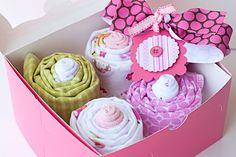Baby Girl Recieving Blanket Cupcake Gift Set by PinkPearTreeGifts, $29.95