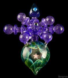 "Northern Lights x THETA Glass, aka, Umetsu Satoshi ""Purple Passion"" Pendant Collaboration $ 715"