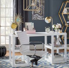 Get inspired by Glam Office Design photo by Room Ideas. Wayfair lets you find the designer products in the photo and get ideas from thousands of other Glam Office Design photos. Home Office Space, Home Office Desks, Office Decor, Office Ideas, Ceo Office, Church Office, Gold Office, Office Fun, Office Inspo