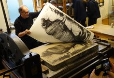 Printing the litho 'The Bull' by Nico Vrielink at the Nederlands Steendrukmuseum. Only 15 printed; selling price € only. Printing Press, Art Studios, Letterpress, Collages, Printmaking, Inventions, Art Prints, History, Stone