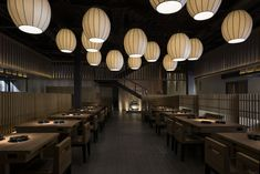 The exterior of the Shih-Chi Stone Hot Pot restaurant is inspired by the architecture of ancient Japanese shrines. Japanese Restaurant Design, Japanese Interior Design, Restaurant Interior Design, Interior Design Studio, Salon Design, Hotpot Restaurant, Cafe Restaurant, Japanese Bar, Asian Restaurants