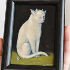 """Modest Birdy Jewelry on Instagram: """"I chose this previous miniature painting of mine (sold) to share today! 🐈 White kitty house guardian demon, resting, but with one eye…"""""""