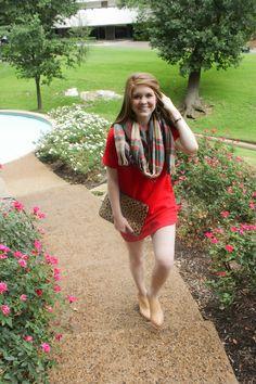 red shift dress, plaid blanket scarf, cheetah clutch