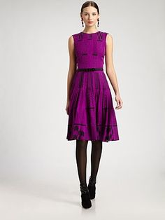 Mass. Office. Dinner. Dates. Anytime I want to feel beautiful! A perfect go-to, dress me up w/ little effort dress. awesome! (Oscar de la Renta - Printed Silk Dress)