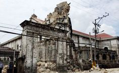 One of the Roman Catholic churches in Bohol, Philippines that was destroyed by the 15 October 2013 earthquake