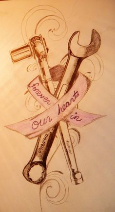 Cancer Ribbon, Shoulder Blade by jaded-apocalypse on DeviantArt - headstone designs for auto mechanic Grandpa Tattoo, Daddy Tattoos, Father Tattoos, Car Tattoos, Daddys Girl Tattoo, Racing Tattoos, Tattoo Baby, Rose Tattoos, Tatoos
