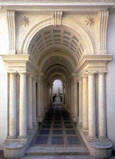 Trampantojo en el patio del Palacio Spada de Roma, obra de Francesco Borromini. El pasillo es mucho más corto y la escultura mucho menor de lo que parecen
