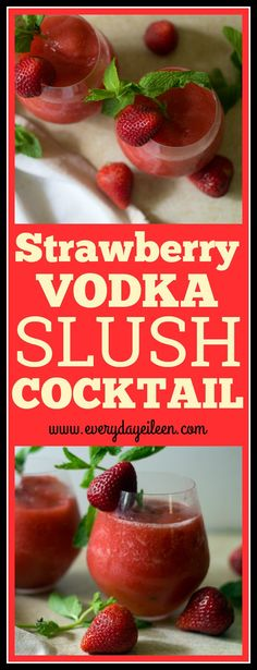 Strawberry vodka slush cocktail - a one cup serving is only 134 calories and zero fat! Made with fresh strawberries! Delicious and refreshing. A mock-tail version is included!