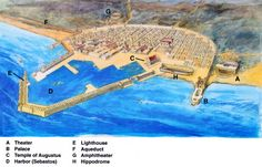 an artists reconstruction of Caesarea Maritima