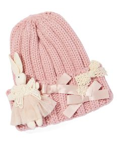 Another great find on #zulily! Pink Knit Bow Beanie #zulilyfinds