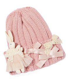 Frills du Jour Pink Knit Bow Beanie ab2033635f1f