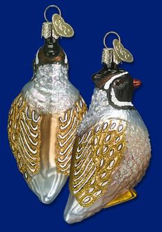 Partridge Mouth Blown Glass Old World Christmas Ornament