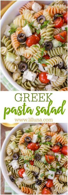 Greek Pasta Salad - rotini pasta, tomatoes, cucumber, olives, and feta cheese in a delicious greek dressing! This will be your new go-to pasta salad!!: