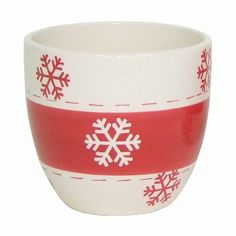 3.50 in. H x 3.25 in. Dia.Red/Bisque Snowflake Ceramic Pot
