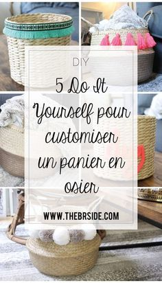 5 DIY pour customiser un panier en osier Diy Pompon, Diy And Crafts, Crafts For Kids, Ribbon Bows, Diy Projects, Homemade, Inspiration, Simple, Couture