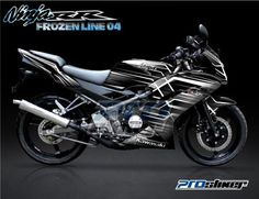 Striping Ninja 150 RR New Hitam Motif Frozen Line Putih Cutting Sticker Ninja RR Modifikasi