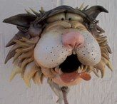 Douglas Fey Pottery, comical cat caricatures and other critters made as birdhouses