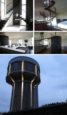 Chateau D'eau House by Mauro Brigham is an exemplary real-life adaptive reuse project. The stunning cylindrical shape once housed a water tower, and now contains six stories of rounded residential and community space