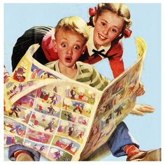 reading the Sunday funnies! In color. Will always have fond memories of doing this with my Dad who died in 1966.