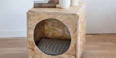 DIY animaux: une cabane pour chat dans une table de chevet