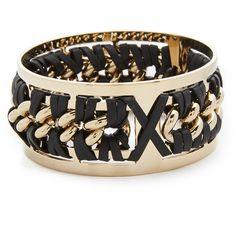 Pluma Small Woven Leather Bangle Bracelet (£105) ❤ liked on Polyvore featuring jewelry, bracelets, black, 24k jewelry, hinged bracelet, polish jewelry, leather bangle bracelet and bangle jewelry