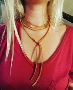 Check out this item in my Etsy shop https://www.etsy.com/listing/461364480/triple-loop-tan-leather-choker
