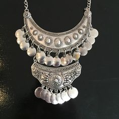 NWOT Boho Silver Color Necklace Earring Set Totally trendy boho chic set - necklace with matching earrings. Jewelry Necklaces
