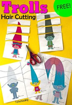 Practice scissor skills with these adorable Troll Hair Cutting pages! Great for toddlers!