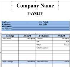 Payslip Template Format In Excel And Word