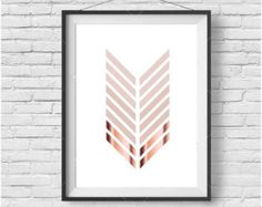 Items similar to Chevron Print, Copper Art, Rose Gold, Blush Print, Geometric Print, Pastel Art, Scandinavian Print, Printable Art, Digital Download on Etsy