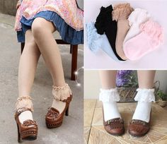 Sweet Cute Women Ladies Princess Girl Vintage Lace Ruffle Frilly Ankle Socks  #Unbranded #SeeDescription