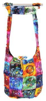 Amazon.com: Hobo Bohemian Hippie Om Peace Infinity Symbol Painted Earth Friendly Inner Lining Great for Travelling Shoulder Sling Crossbody Gypsy Monk Bag Purse Nepal By Shangrila Nook: Arts, Crafts & Sewing