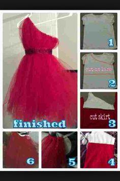 One shoulder pink tulle dress