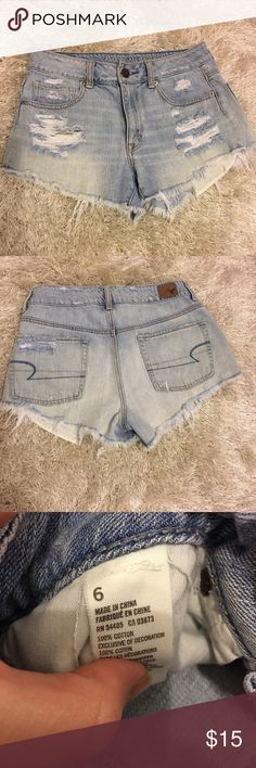 American Eagle high waisted shorts Light wash high waisted shorts from American Eagle Outfitters. Size 6. American Eagle Outfitters Shorts Jean Shorts