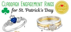 Claddagh Engagement Rings for a St. Rings in Yellow Gold, White Gold, Sterling Silver, and Rose Gold with Customizable Birthstones. Wedding Themes, Wedding Blog, Our Wedding, Claddagh Engagement Ring, Engagement Rings, Green Palette, Homemade Gifts, Bridal Style, Proposal