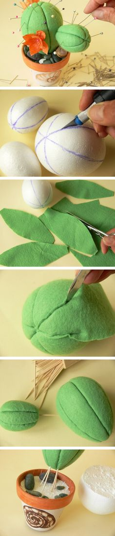 Patchwork without needle: making cute cactus pin cushion