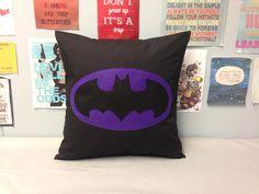 Batman - Black & Purple Retro Superhero Cushion Pillow Cover Felt Applique Design Kids Children's Boys Bedroom 14 16 18 20 22 24 inch size by BeUniqueBaby on Etsy