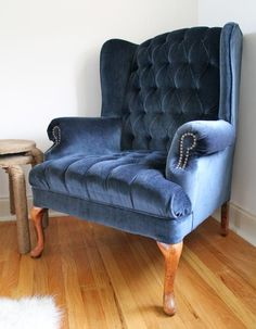 dempsey chair, navy | the living room makeover | one kings lane