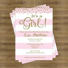 Pink and Gold Baby Shower Invites; Its a Girl Baby Shower Invitation Girl; Baby Shower Invitation for a Girl; Gold and Pink Invitations by SophisticatedSwan on Etsy